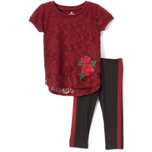 Lace Tunic and Leggings 2-piece Set for Girls